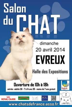 Affiche de l'exposition de chats d'Evreux du dimanche 20 avril 2014