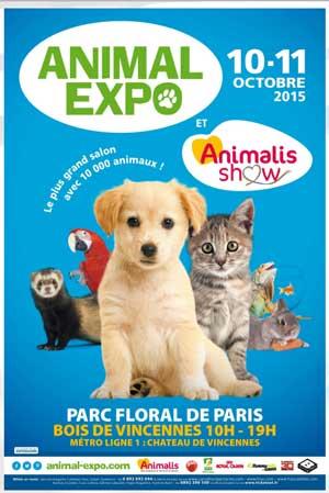 Animal Expo 2015 se tiendra les 10 et 11 octobre 2015 au Parc Floral de Paris