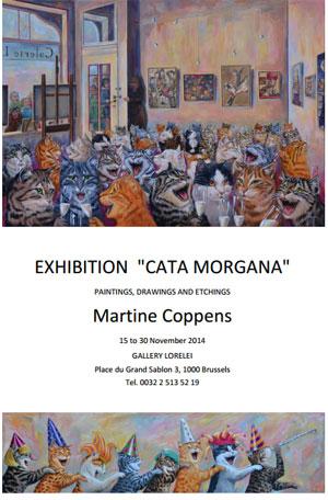 L'affiche de l'exposition de peinture sur le thème du chat de Martine Coppens Cata Morgana