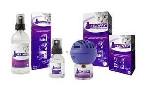 Les différents conditionnements des produits Feliway du laboratoire Ceva.