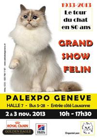 L'affiche de l'exposition des 80 ans du Cat Club de Genève CCG  les 2 et 3 novembre 2013.