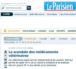 Une du Parisien du 29 juin 2014 dénonçant le scandale des vétérinaires