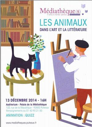 Affiche de la Médiathèque de Puteaux annonçant Les animaux dans l'art et la littérature le 1