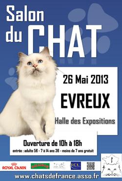 Le Salon du Chat d'Evreux 2013 se tiendra le 26 mai 2013
