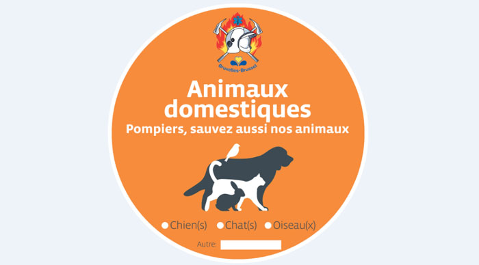Des autocollants pour avertir les pompiers de la présence d'animaux en Belgique.