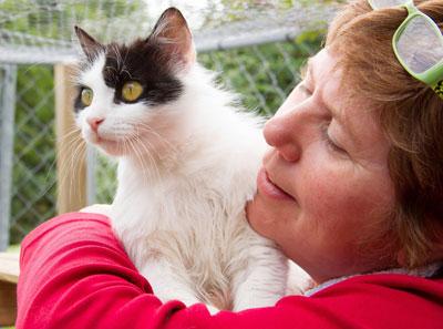 Lynn Stone des chats du Quercy avec deux de ses pensionnaires.