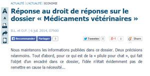 Michel Baussier, Président du Conseil Supérieur de l'Ordre des Vétérinaires répond au Parisien.